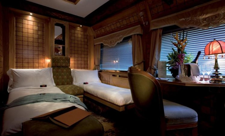 The cabins onboard the luxury train Eastern & Oriental Express run by Belmond, from Bangkok to Singapore
