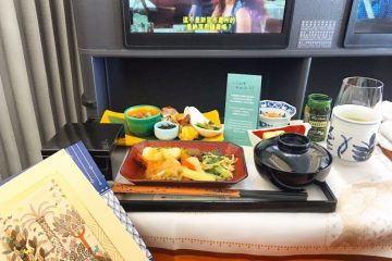 In-flight lunch on Eva Air to Taipei