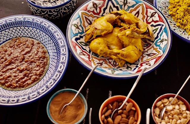 Ingredients for chicken tagine at a cooking class at the Palais Amani in Morocco