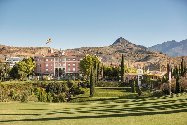 The golf course of the Anantara Villa Padierna Palace in Andalusia, Spain