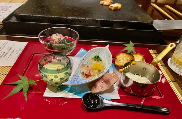 Traditional Japanese appetizers for a kaiseki meal at Chinzanso in Tokyo