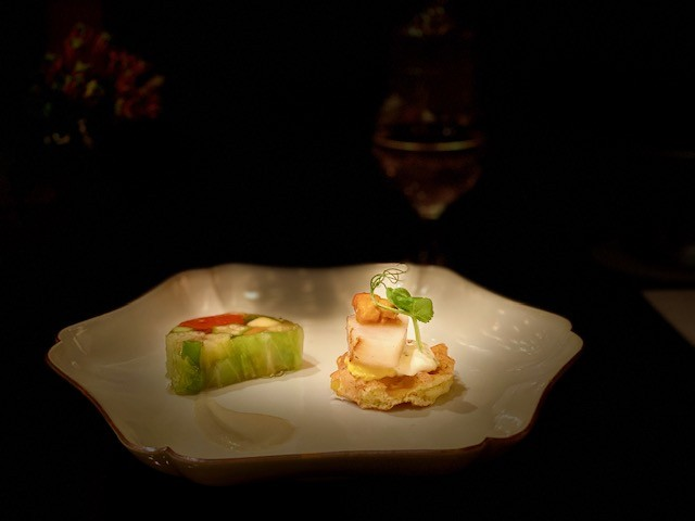 summer vegetable terrine and a corn waffle topped with scallop and sea urchin