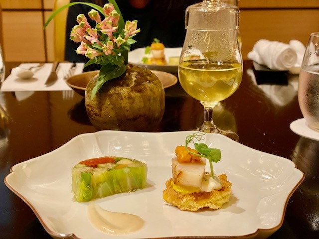 Summer vegetable terrine and a corn waffle topped with scallop and sea urchin for afternoon tea at the Park Hyatt Kyoto