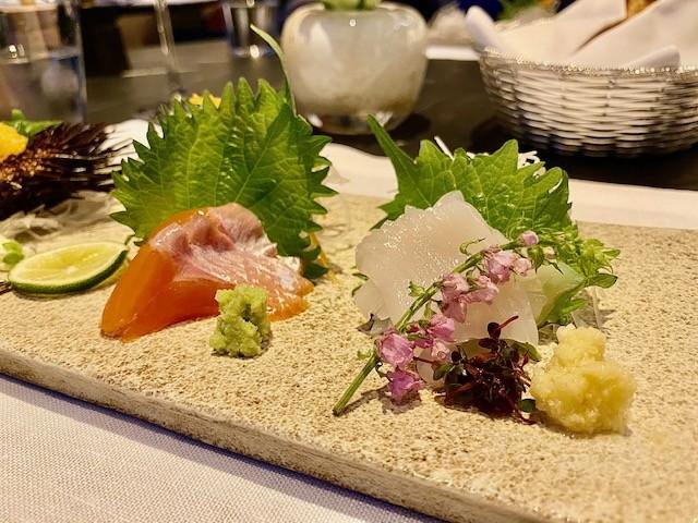 Sashimi for a traditional Japanese dinner at the Mountain Lounge of the Park Hyatt Niseko in Hokkaido