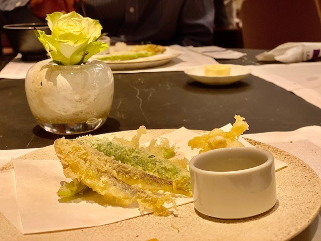 Tempura as part of a traditional Japanese dinner at the Mountain Lounge of the Park Hyatt Niseko in Hokkaido