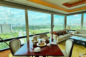 Best views of the Imperial Palace from the deluxe corner suite of the Peninsula Tokyo
