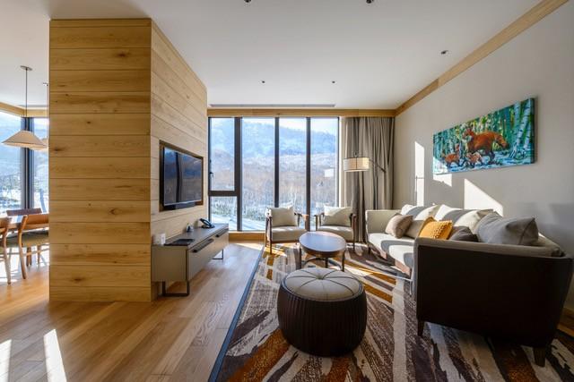 The living room area of a three-bedroom unit of Yu Kiroro in Hokkaido