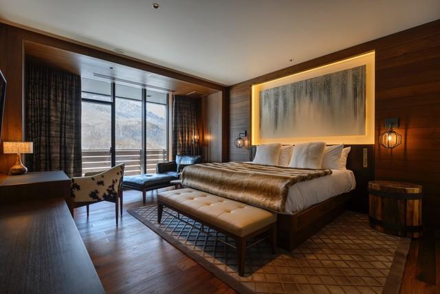 The bedroom of a penthouse unit of Yu Kiroro in Hokkaido