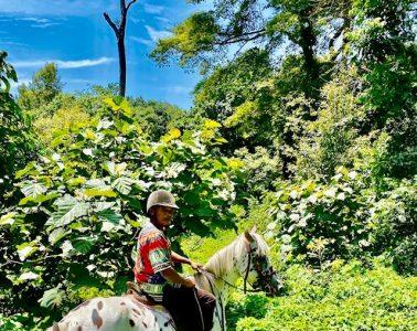 Riding a horse in Tanzania