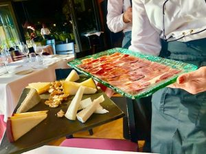 Jamon and cheese for lunch at the Finca La Estacada winery in La Mancha in Spain